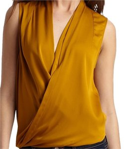 Diane von Furstenberg Dvf Wrap Double Silk Jewel-tone Old-hollywood Top Gold Yellow