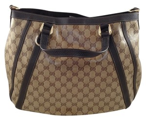 Gucci Vinyl Canvas Monogram Tote in Brown/Tan