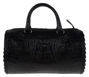 Camilla Skovgaard Crocodile Leather Gun Metal Hardware Tote in Black