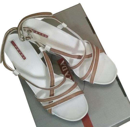 Prada Patent Leather white Wedges
