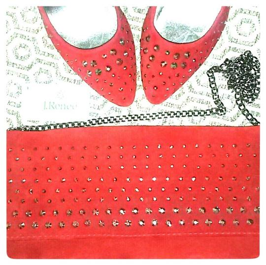 J. Renee Studded Suede red Pumps