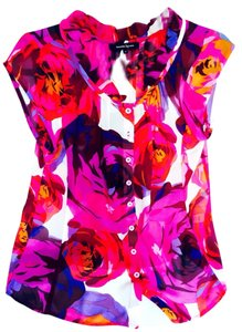 Nanette Lepore Top Floral Hot Pink Multi Print