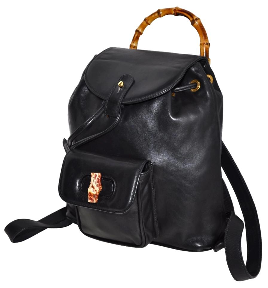 9b8d269988 Gucci Soft with Bamboo Wood Details Made In Italy Small Size Black Leather  Backpack