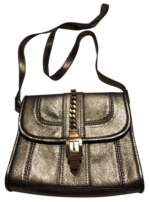 Item - Gold with Bronze Tones Leather Cross Body Bag