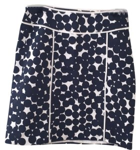 Ann Taylor Skirt White with navy blue dots