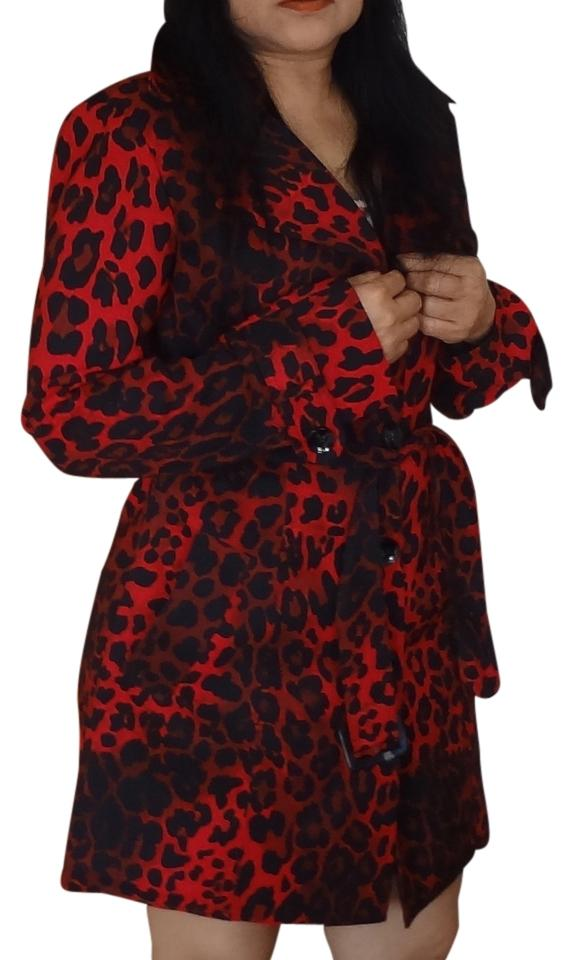 cache red leopard trench coat size 4 s tradesy. Black Bedroom Furniture Sets. Home Design Ideas