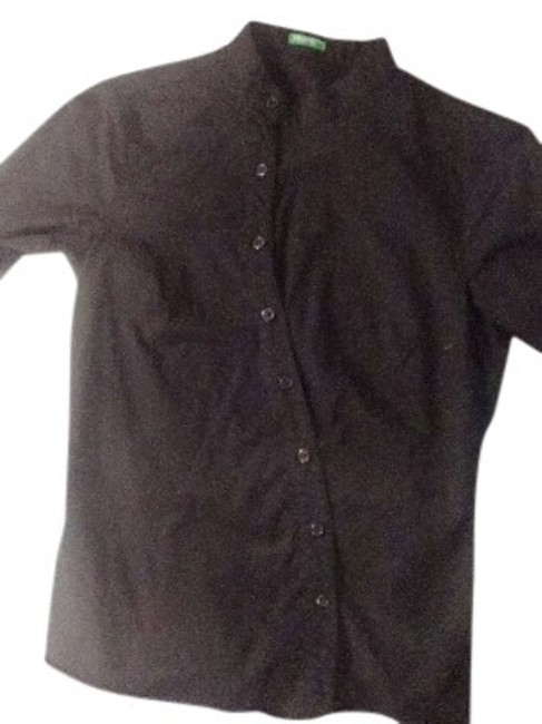 Item - Black Work Business Casual Long Sleeve Collarless Button-down Top Size 2 (XS)