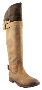 Sixtyseven Edgy Leather Distressed Dark Tan Boots