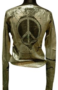 And Cake Metallic Handpainted Cashmere Studded Embellished Peace Sign Sweater