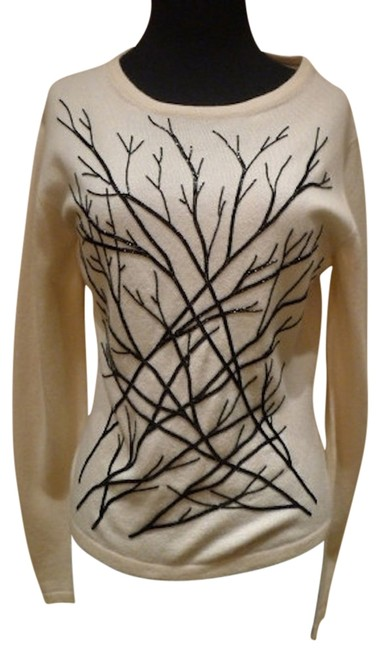 Preload https://item4.tradesy.com/images/armand-diradourian-ivory-with-black-cashmere-beaded-branches-sweaterpullover-size-12-l-1269398-0-0.jpg?width=400&height=650