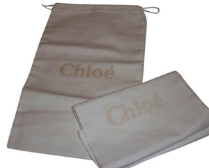 Chloe New Set of 2 Chloe Sleeper/ Dust Bag / Protective Cover 7 inch width x 13 inch length. White with Tan Logo Drawstring bag