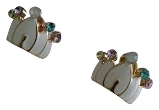 Macy's White Crowns with Iridescent Rhinestones Studs Earrings