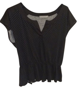 Olivia Moon Peplum Peplum Dot Top Black