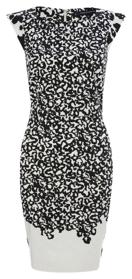 dc6c4e809f0 French Connection Black/White Animal Print Abstract Cocktail Dress