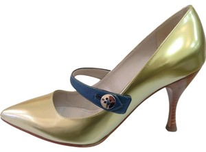 Marc Jacobs Leather Metallic YELLOW Pumps