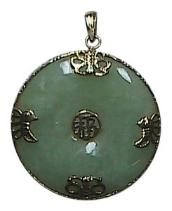 Vintage 14k Yellow Gold Butterfly Medallion Jade Pendant