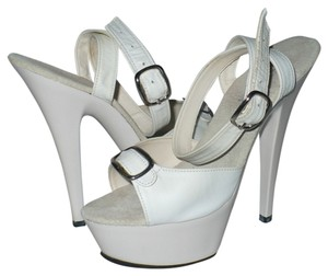 Sunset Strip Stiletto Exotic Dance Costume Leather Strip Ankle Strap White Platforms