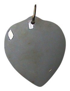 Vintage 14k Solid Yellow Gold Bail White Jade Heart Pendant