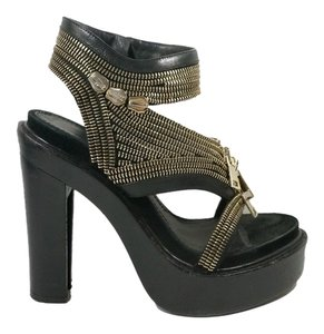 Givenchy Designer Fashion Sandals Black, Gold Platforms