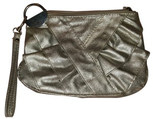 Claire's Hardware Ruffle Wristlet in silver