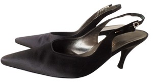 Salvatore Ferragamo Slingback Signature Classic Satin Hat Pin Black Pumps
