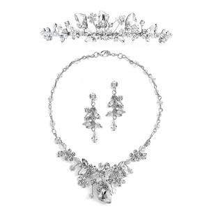 Mariell Mariell 4005ts Handmade Tiara Necklace & Earrings Set With Genuine Crystals