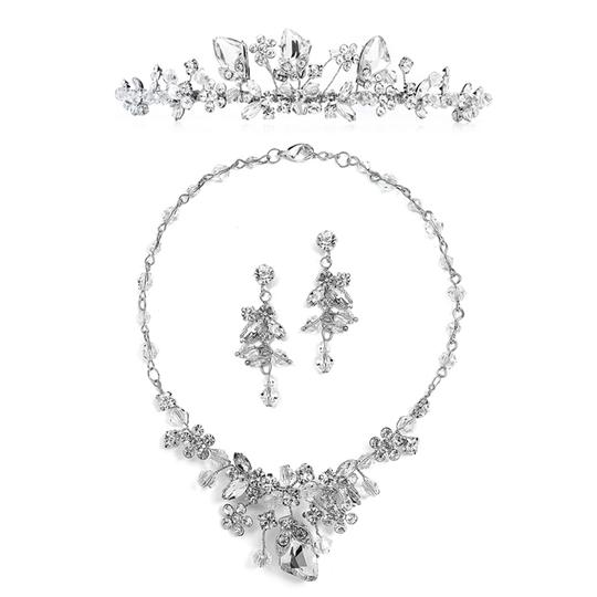 Mariell Silver 4005ts Handmade Tiara Earrings Set with Genuine Crystals Necklace