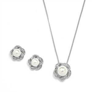 Mariell Mariell 3991s Ivory Pearl & Cubic Zirconia Bridal Or Bridesmaid Necklace & Earrings Set