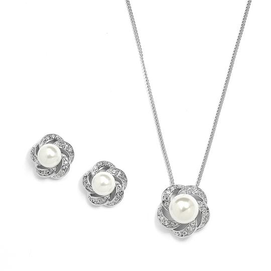 Mariell Pearl/Diamond 3991s Ivory Cubic Zirconia Bridesmaid Earrings Set Necklace