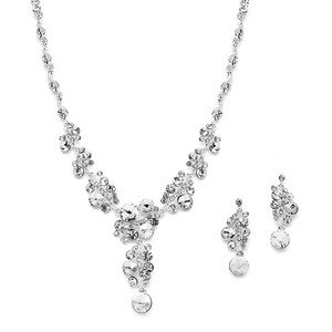 Mariell Silver 4150s-cr Crystal Bubbles with Pave Earrings Set Necklace