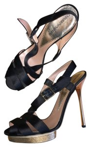 Emporio Armani Gold Silk Black Black, Gold Platforms
