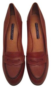 Ralph Lauren Collection Polo Oxford Loafer Heels Platforms Chunky Leather Wood Chic Love Jadore Light Brown (Mahogany) Pumps
