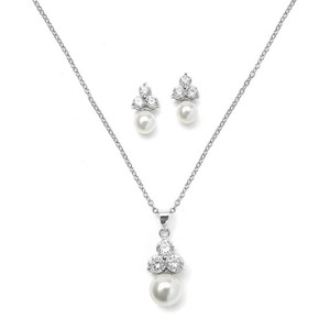 Mariell Silver/Pearl 3052s Or Bridesmaid with Round Cz Trio Necklace