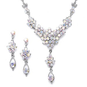 Mariell Ab Crystal Cluster Necklace Set With Drop 470s