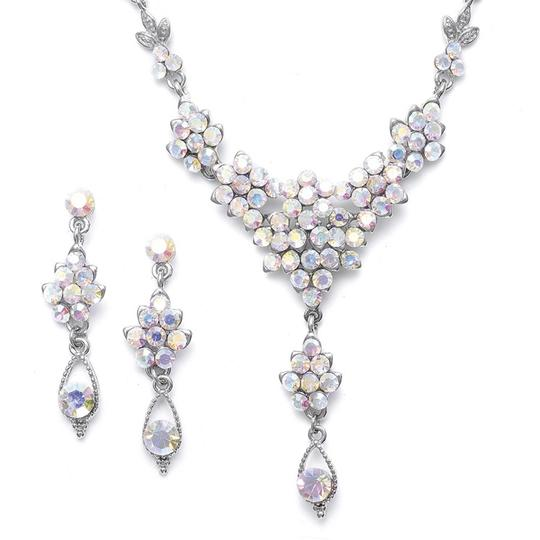 Mariell Silver Ab Crystal Cluster with Drop 470s Necklace