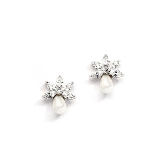 Silver/Rhodium Delicate Marquis Crystals Fresh Water Pearl Earrings