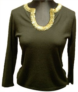 Armand Diradourian Cashmere Sequined Holiday Embellished Sweater