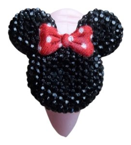 mickey mouse Chunky Black Rhinestone Red Polka Dot Bow Charm Mickey Mouse Ring