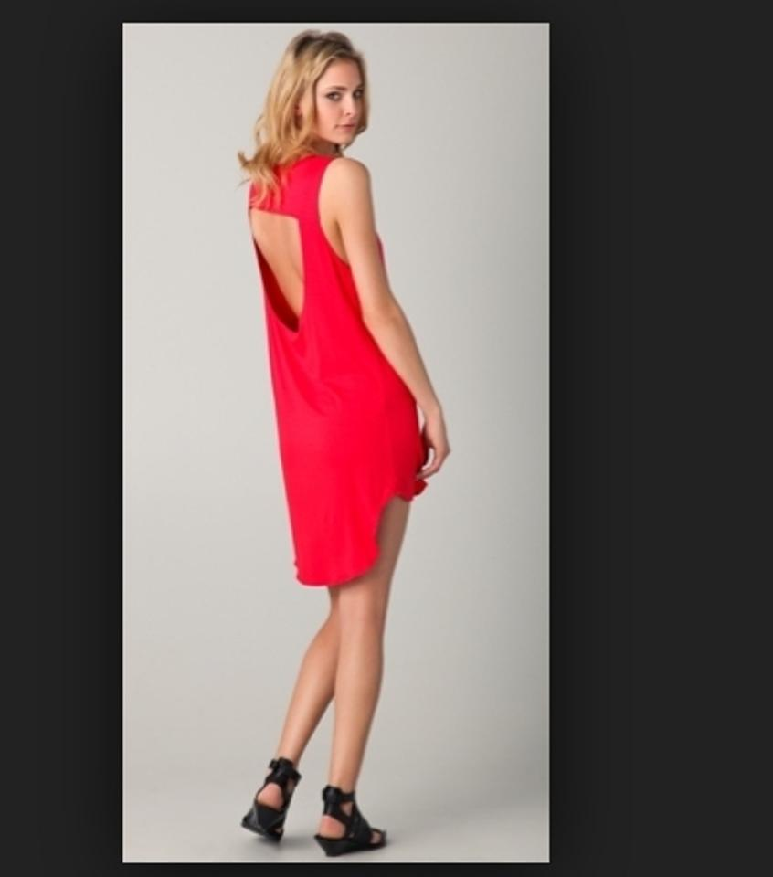 Red Open Back Cocktail Dress Lna Cocktail Dress Red