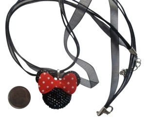 mickey mouse Chunky Black Rhinestone Bling Big Red Bow Charm Mouse Necklac