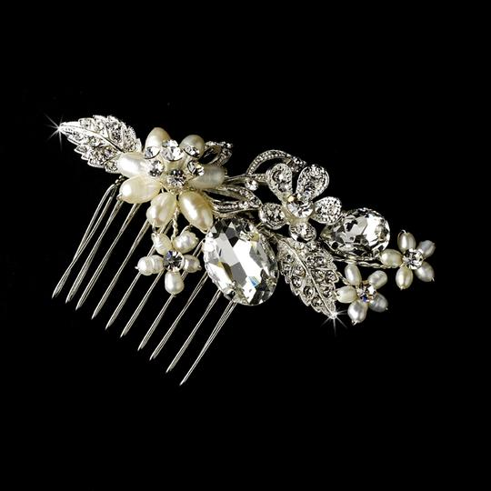 Elegance By Carbonneau Freshwater Pearl And Crystal Wedding Comb