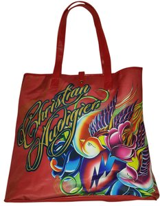 Christian Audigier Los Angeles Logo Love Bright Tote in Red