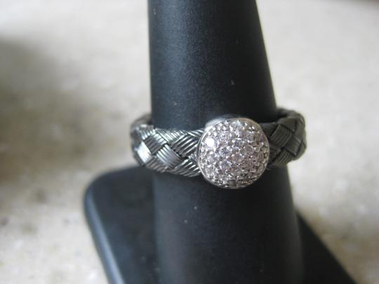 Unknown Ring, Italian Made, Woven, Textured Rhodium Plated, Sterling Silver, CZ