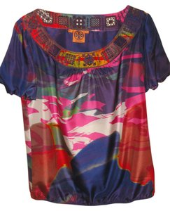 Tory Burch Silk Embroidered Top Multi color