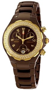 Michele BRAND NEW Michele Chocolate Ceramic & Diamond Tahitian Chrono Watch MWW12A000012