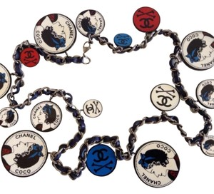 Chanel New Authentic CHANEL Stamped '03P Famous Crossbones Blue Leather Belt / Necklace
