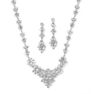 Mariell Mariell 929s Crystal Cluster Bridal Or Bridesmaid Necklace Set