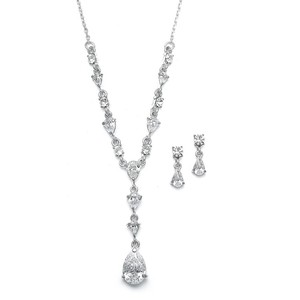 Mariell Mariell 411s-cr Delicate Cz Pears Wedding Necklace Set
