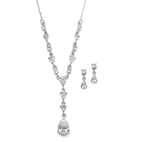 Mariell Silver 411s-cr Delicate Cz Pears Necklace
