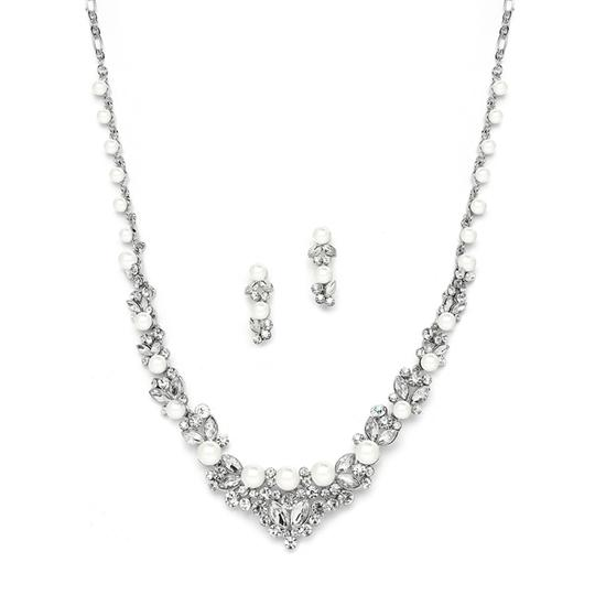 Mariell Mariell 4183s-s Elegant Silver Wedding Necklace Set With Crystals & Pearl Cluster